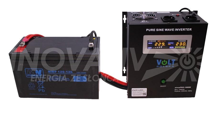 Zestaw KOMPAKT PLUS - przetwornica SinusPro 500E + akumulator 120 Ah