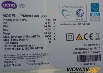instalacja fotowoltaiczna 7kWp Sochaczew Inovativ panele BenQ AUO Solar 330Wp SunForte dane